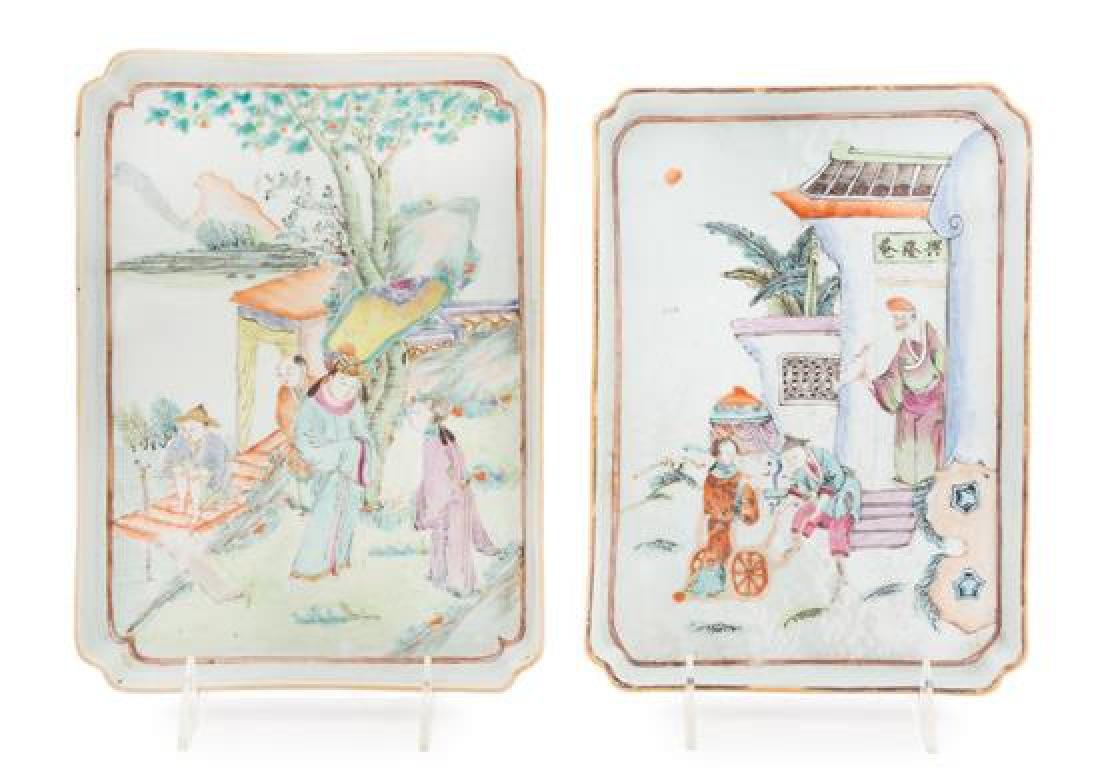 Two Famille Rose Porcelain Rectangular Trays Length of
