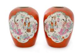 A Pair of Gilt Decorated Coral Red Ground Famille Rose