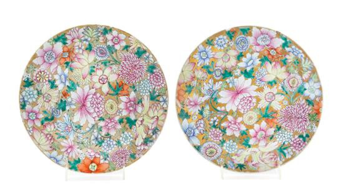 * A Pair of Gilt Decorated Famille Rose 'Millefleur'