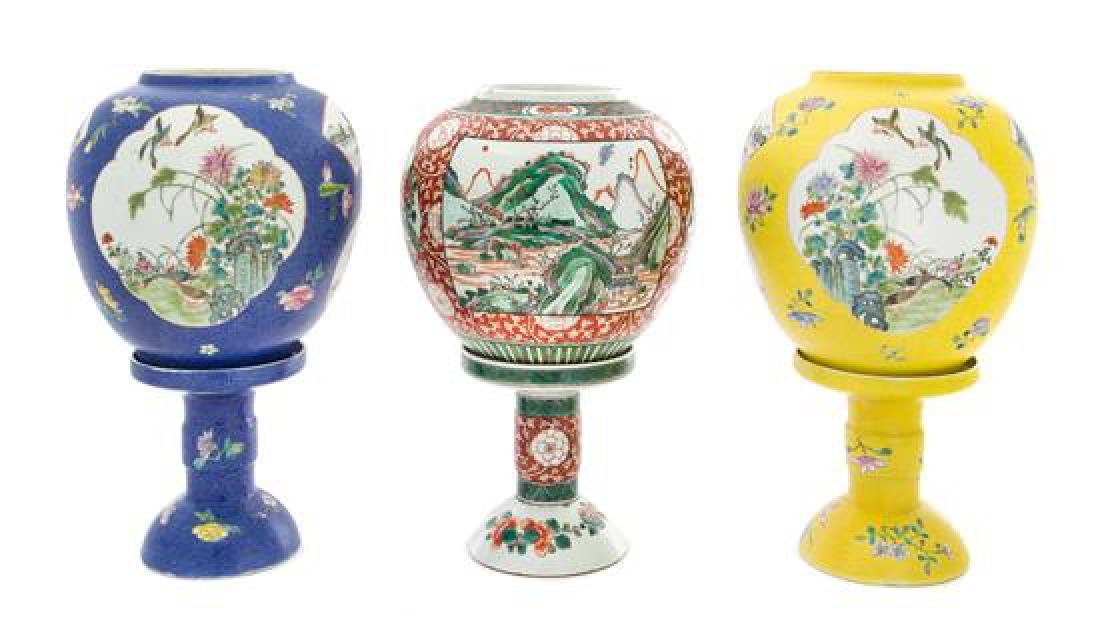* Three Porcelain Lamps Height of tallest 12 inches.
