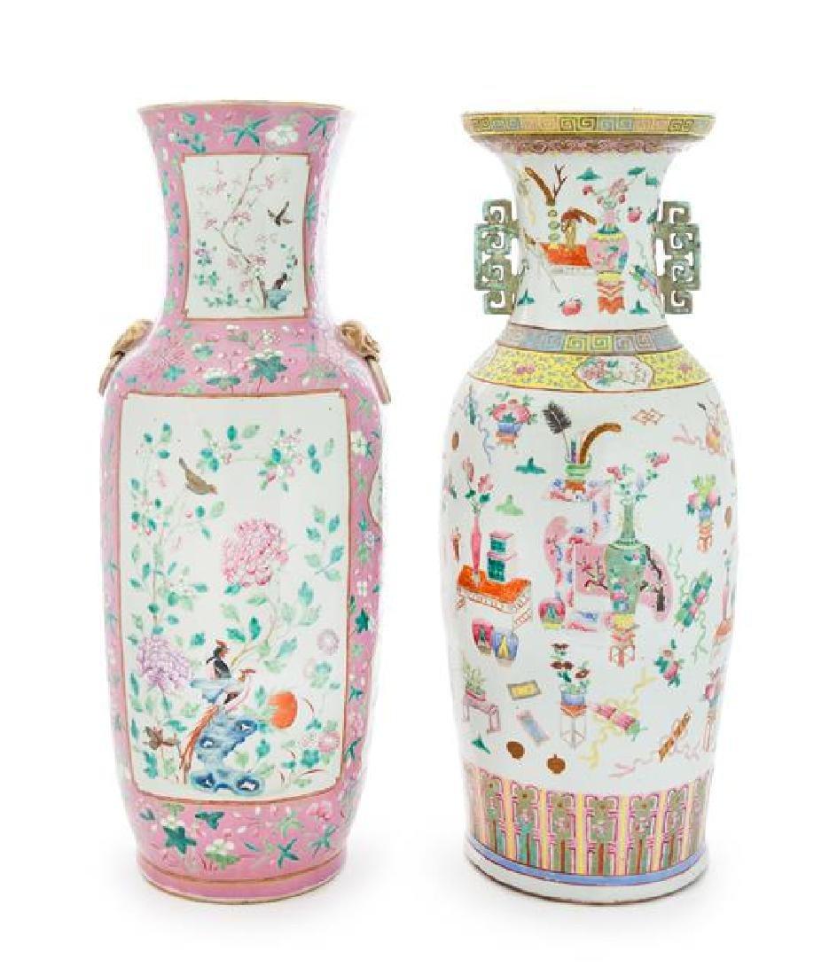 Two Large Famille Rose Porcelain Vases Height of taller