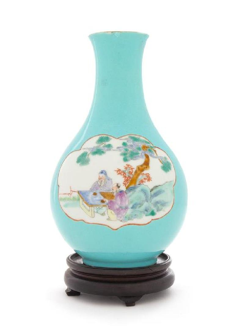 * A Famille Rose Porcelain Vase Height 7 1/2 inches.