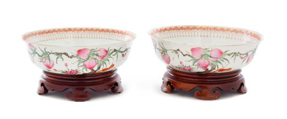A Pair of Iron Red and Famille Rose Porcelain Bowls