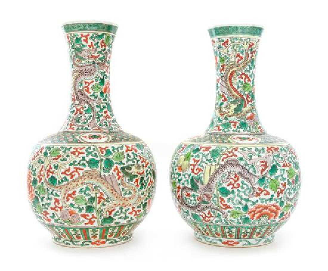 A Pair of Famille Verte Porcelain Vases Height 13 1/4
