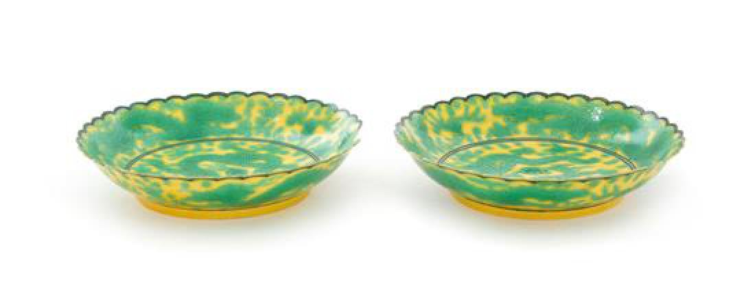 * A Pair of Yellow Ground Green Decorated Porcelain