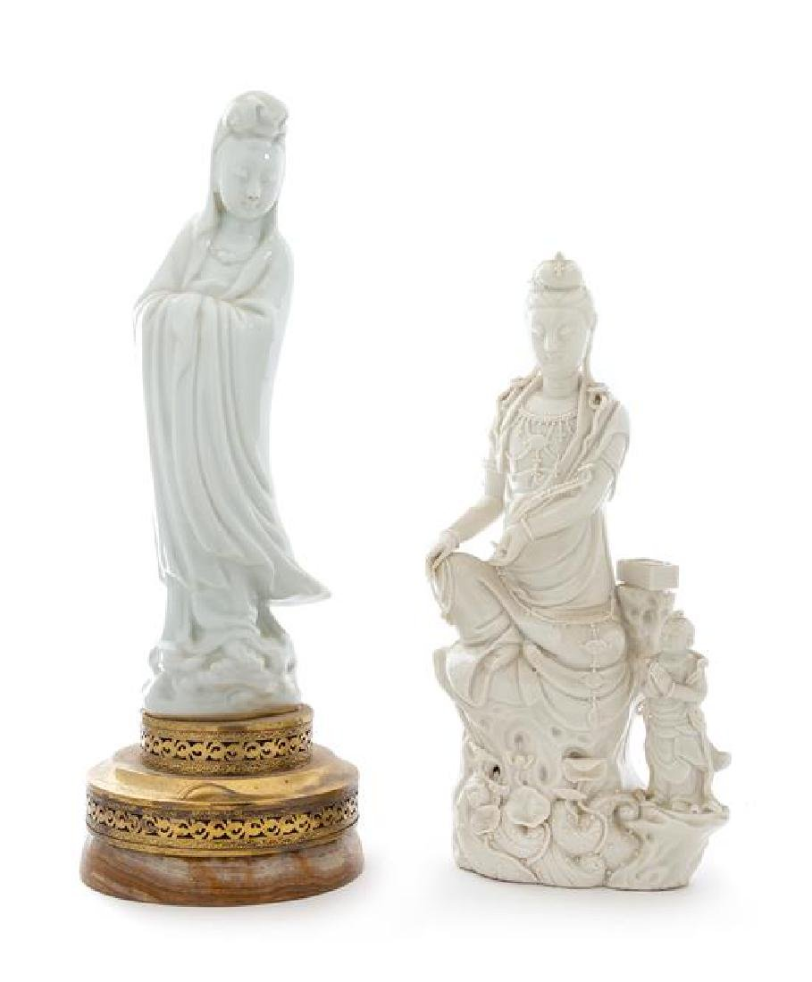 Two Blanc-de-Chine Porcelain Figures of Guanyin Height