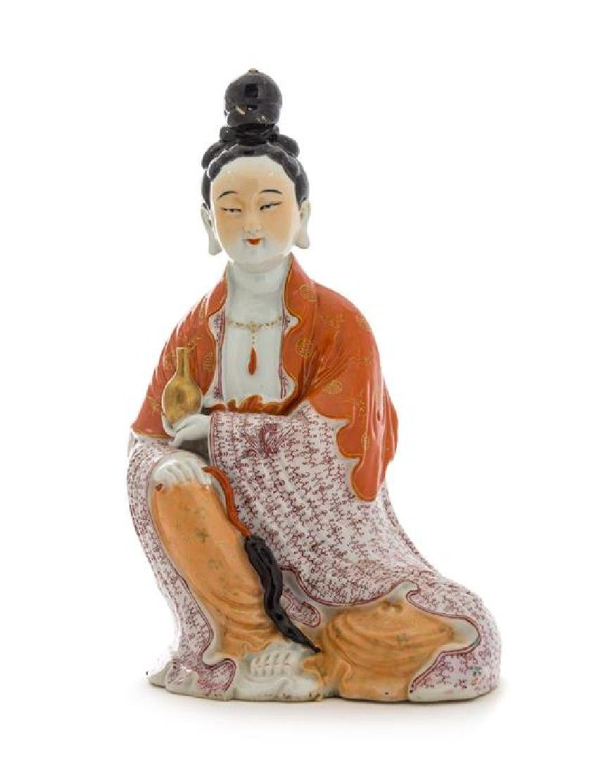 A Famille Rose Figure of Guanyin Height 10 inches.
