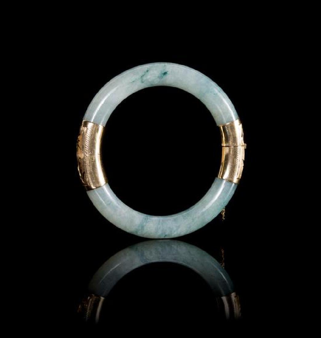 A 14K Gold Mounted Apple Green and Celadon Jadeite