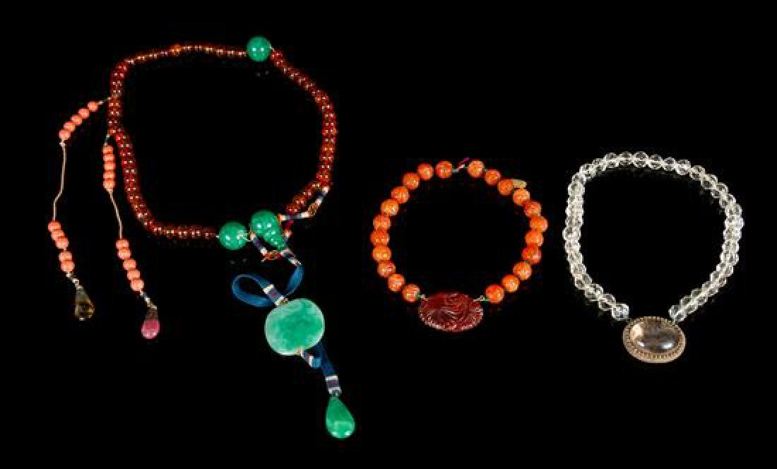 * Three Hardstone and Glass Necklaces Length of longest