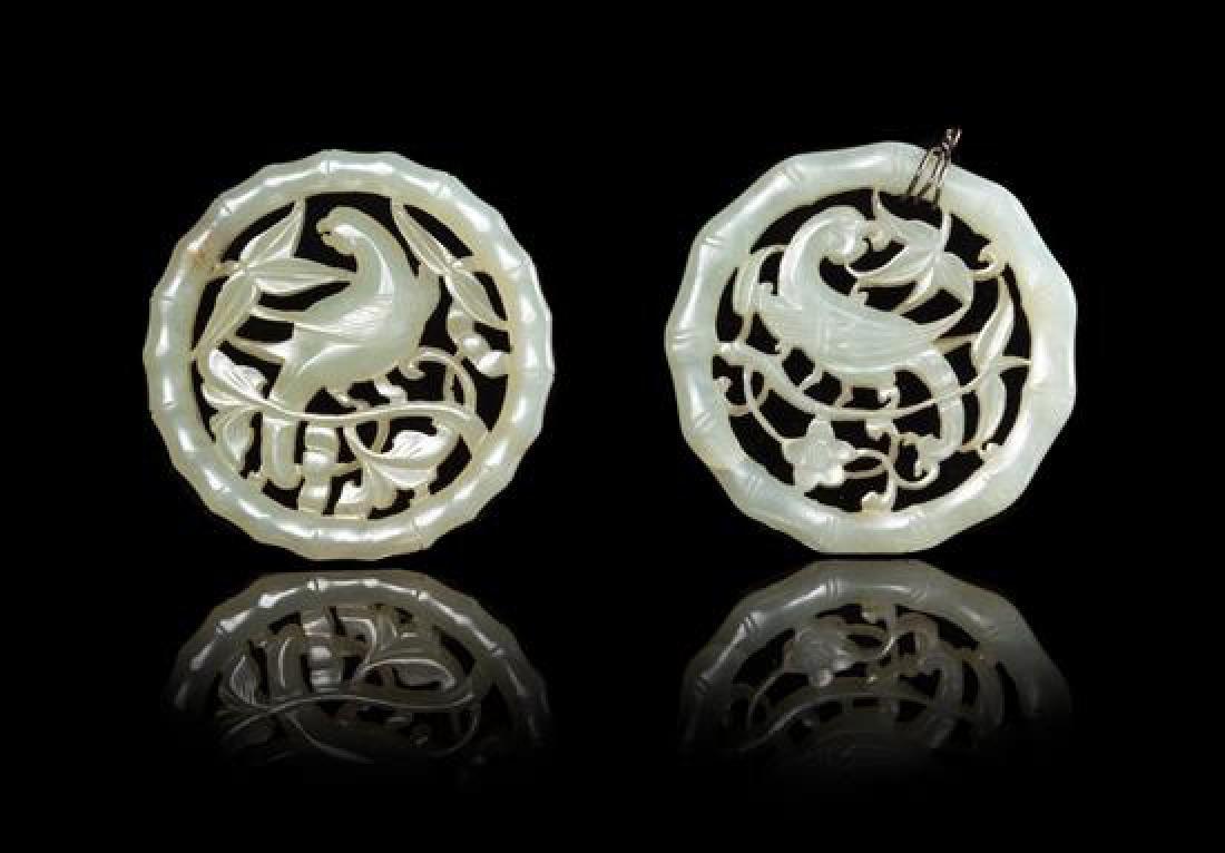 Two Celadon Jade Pendants Diameter of larger 2 1/8