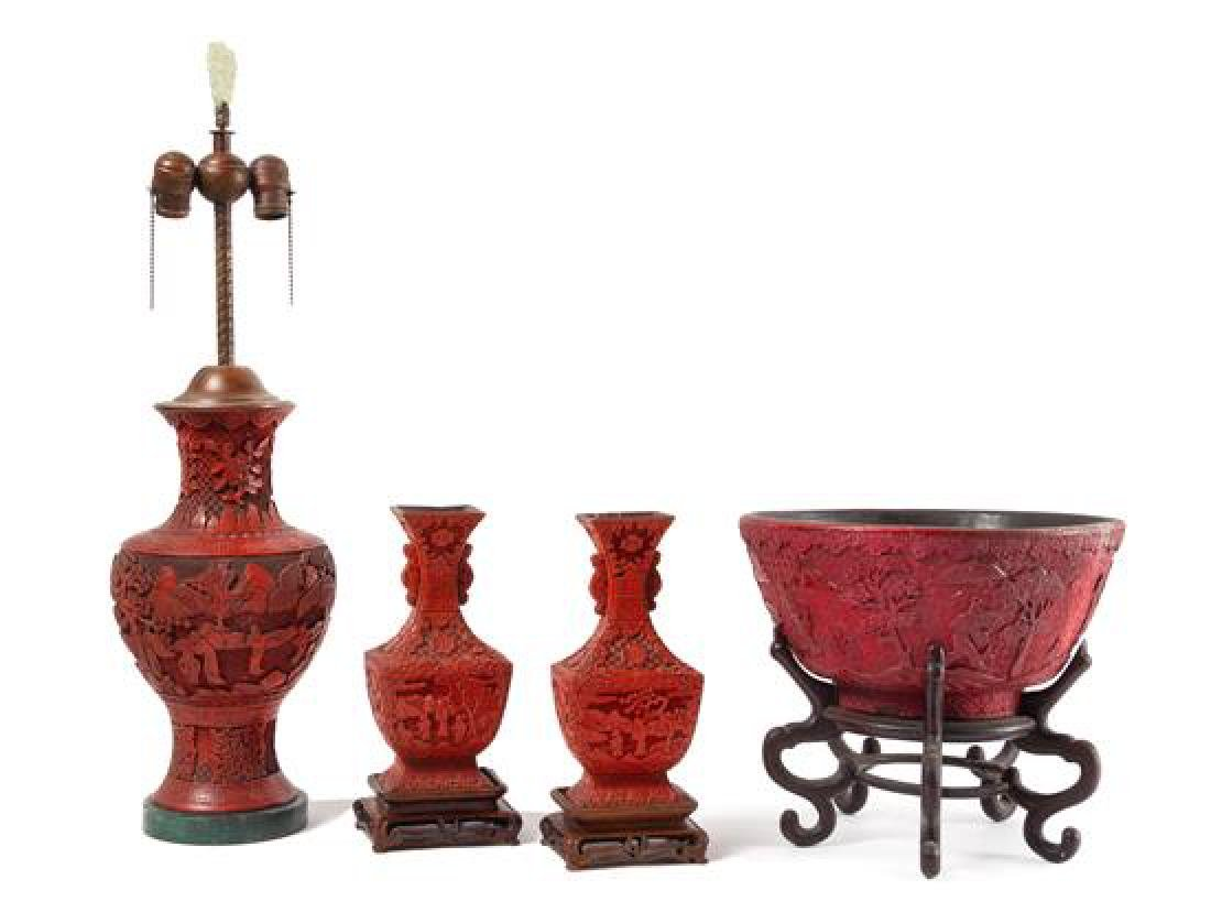 * Four Carved Red Lacquer Articles Height of tallest 14
