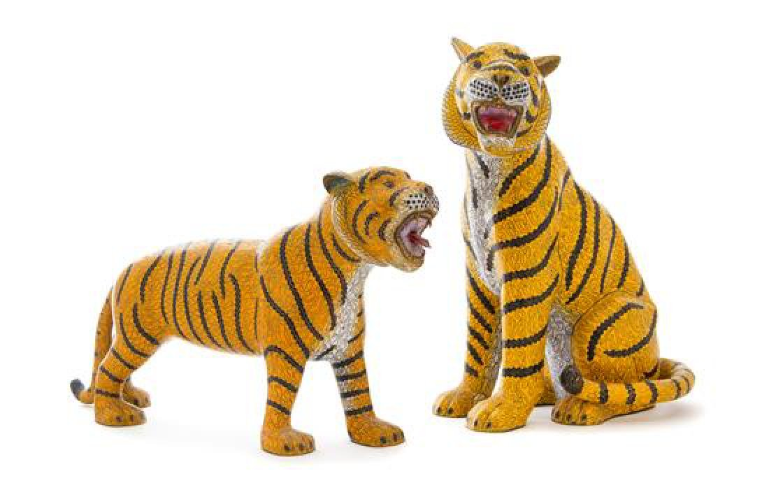 Two Cloisonne Enamel Figures of Tigers Height 13 1/2