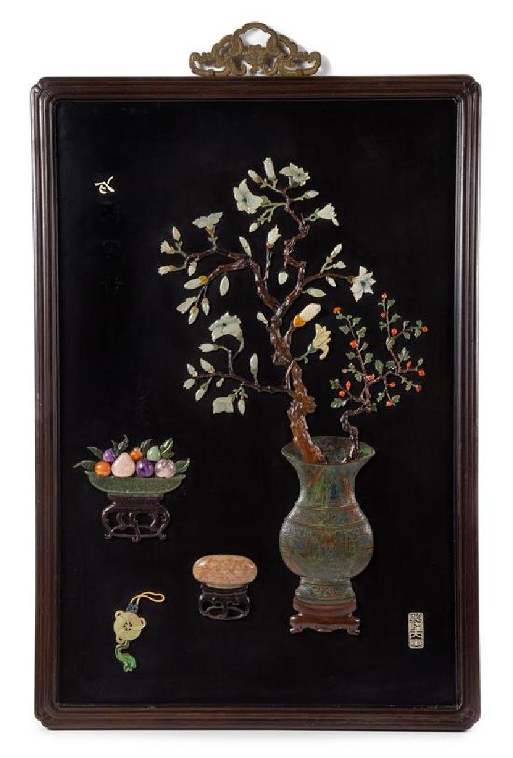 * A Hardstone and Bronze Inset Black Lacquered Wood