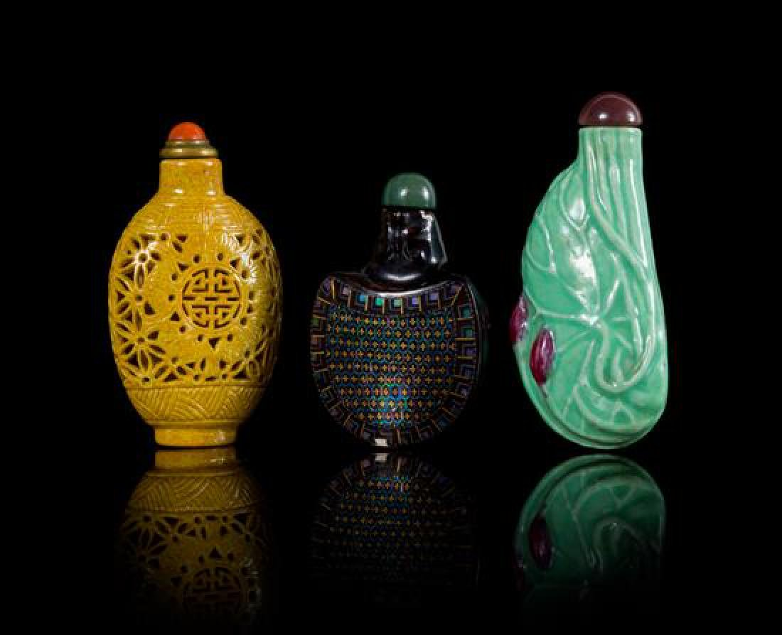 Three Snuff Bottles Height of tallest 3 inches.