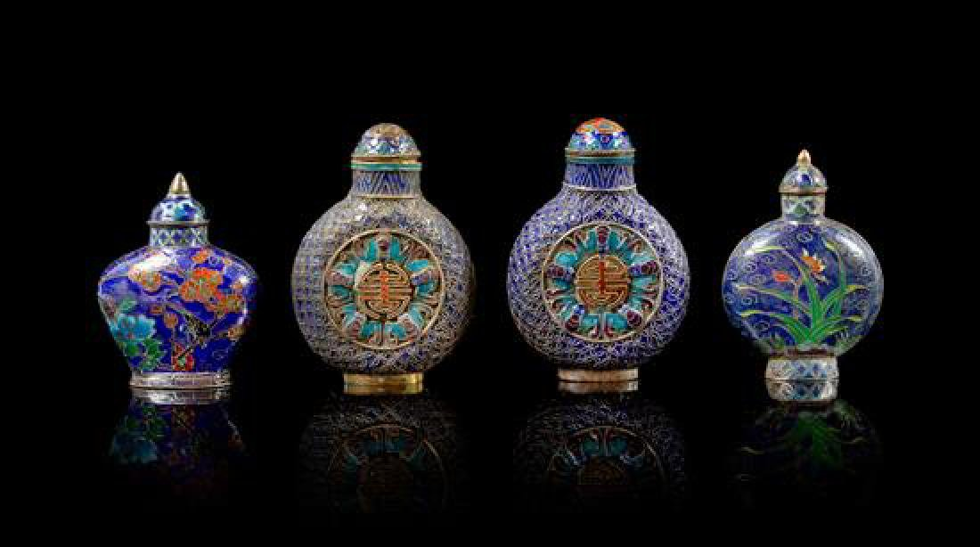 Four Enamel on Silver Snuff Bottles Height of tallest 1