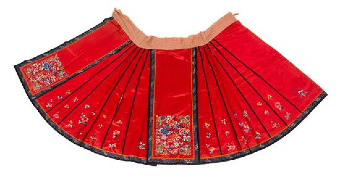 * A Chinese Red Ground Embroidered Silk Lady's Robe and - 2