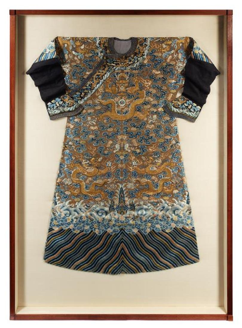 A Chinese Embroidered Silk Brown Ground Dragon Robe,