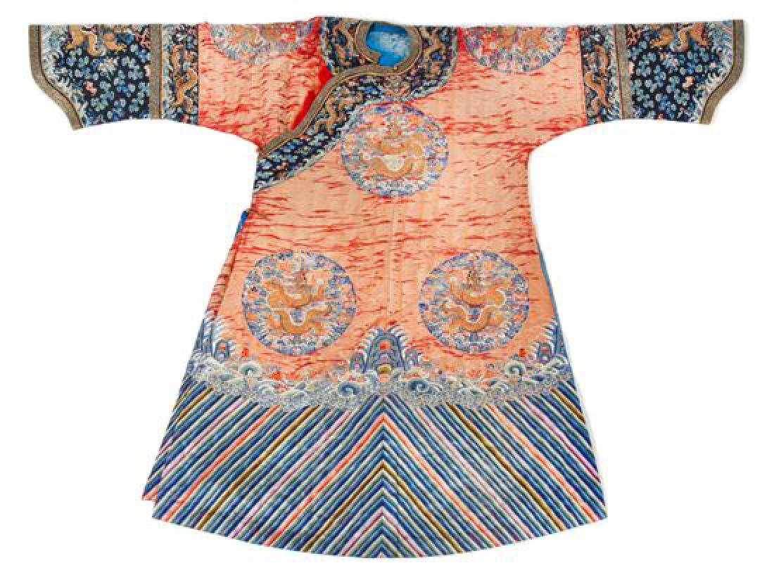A Chinese Embroidered Silk Pink Ground Lady's Winter