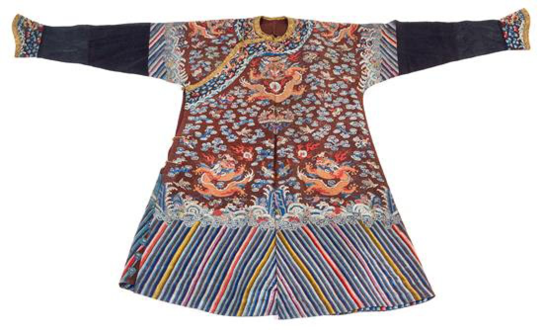 A Chinese Brown Ground Summer Gauze Dragon Robe Length
