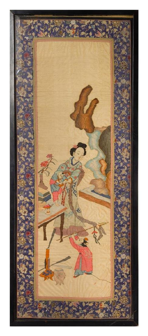 * A Chinese Kesi Silk Panel 42 x 16 1/4 inches.