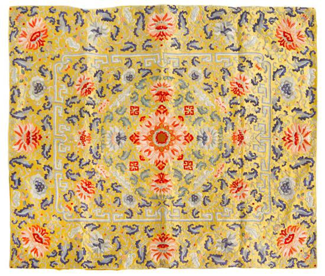 * A Chinese Yellow Ground Embroidered Silk Kang Cover