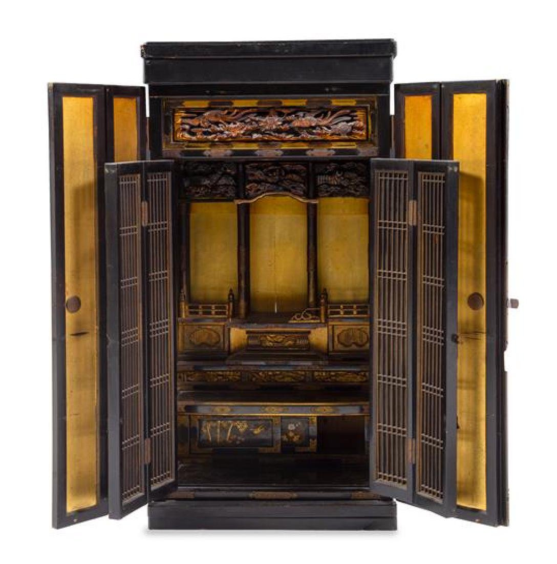 * A Japanese Lacquered Buddhist Shrine Height 47 3/4 x