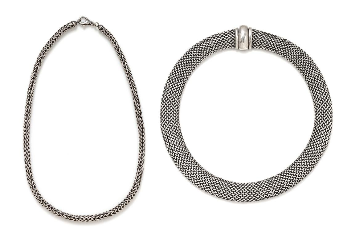 A Collection of Silver Woven Mesh Chain Necklaces