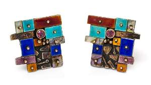 A Pair of Silver Gold Gemstone and Enamel Earclips