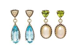 A Collection of Sterling Silver Gold and Multigem Drop