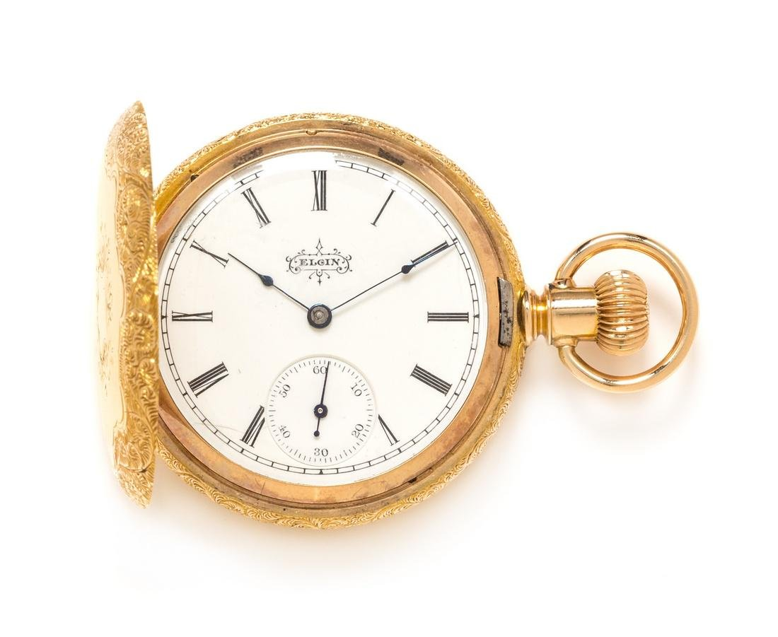 A 14 Karat Yellow Gold Hunter Case Pocket Watch, Elgin