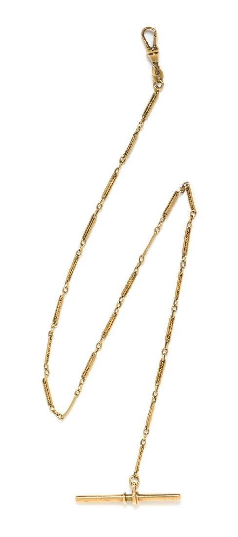 *A 14 Karat Yellow Gold Fob Chain