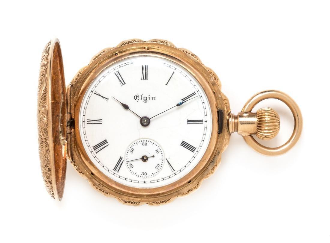 A Multicolor Gold Hunter Case Pocket Watch, Elgin