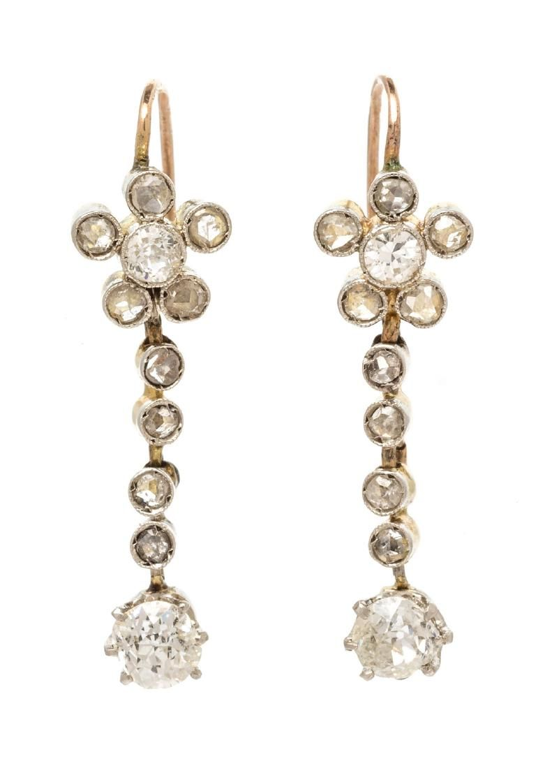 *A Pair of Platinum Topped Yellow Gold and Diamond