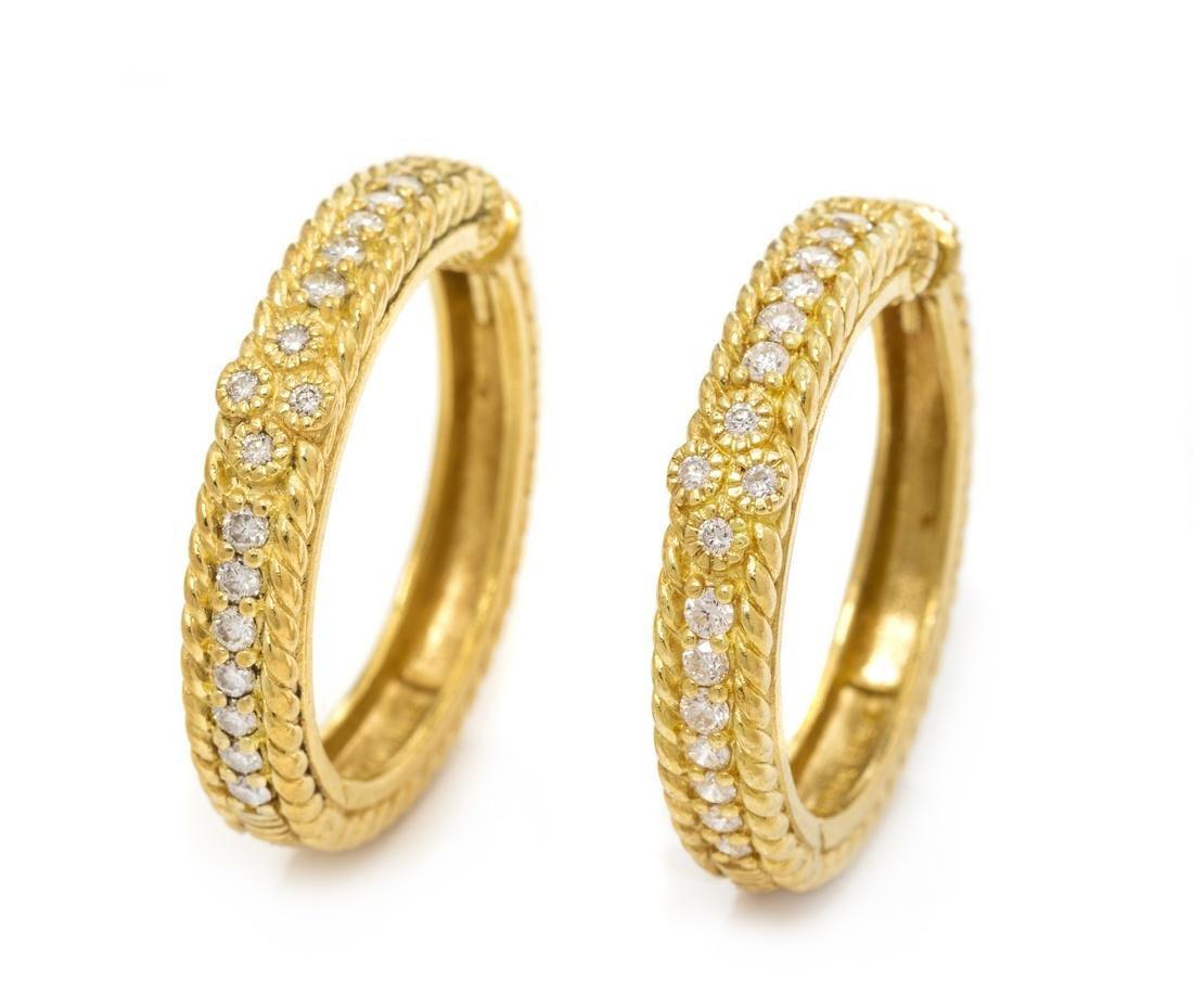 A Pair of 18 Karat Yellow Gold and Diamond Hoop
