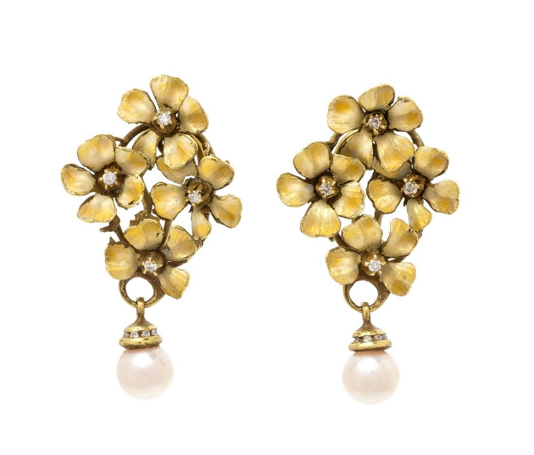A Pair of 18 Karat Yellow Gold, Diamond, Cultured Pearl