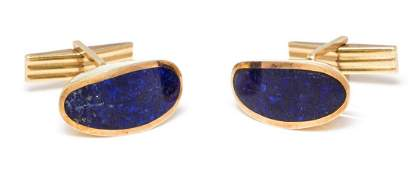 A Pair of 14 Karat Yellow Gold and Lapis Lazuli