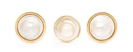 *A Collection of 14 Karat Yellow Gold, Cultured Mabe