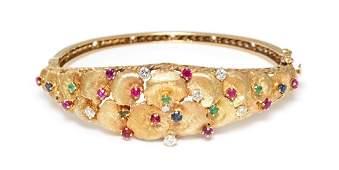 A 14 Karat Yellow Gold, Diamond and Multigem Bangle