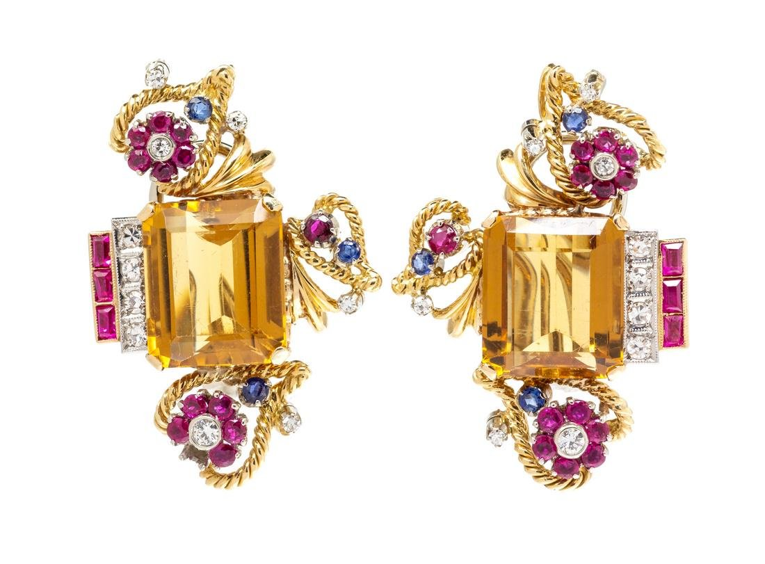 A Pair of Vintage Yellow Gold, Platinum, Citrine, Ruby,