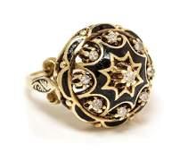 A 14 Karat Yellow Gold, Diamond and Enamel Ring, 7.80