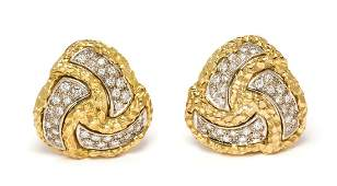 A Pair of Yellow Gold Platinum and Diamond Earclips
