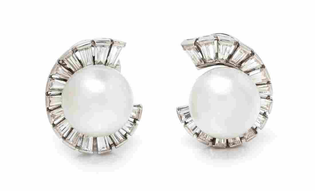 A Pair of Platinum, Cultured Pearl and Diamond
