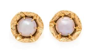 *A Pair 14 Karat Yellow Gold and Cultured Mabe Pearl