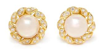 A Pair of 18 Karat Yellow Gold, Cultured Mabe Pearl and