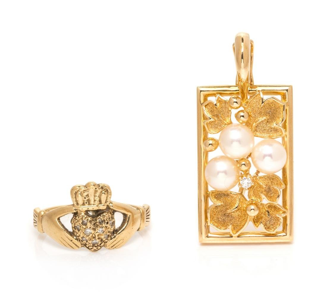 A Collection of Yellow Gold, Diamond and Cultured Pearl