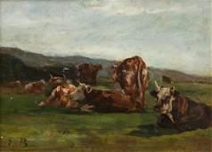 Eugne Boudin French 18241898 tude des vaches