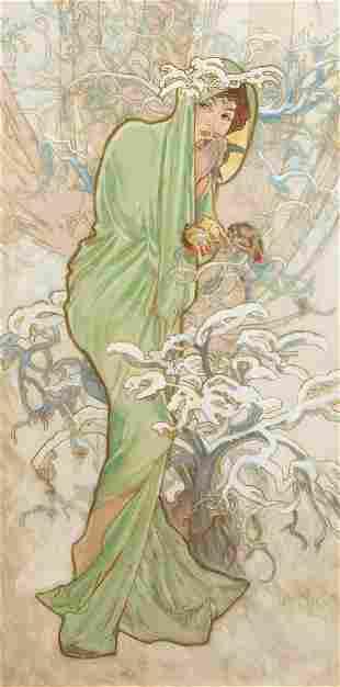 Alphonse Mucha, (Czech, 1860–1939), The Seasons: Winter
