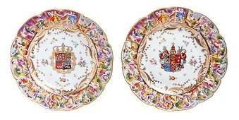 * A Pair of Capodimonte Armorial Cabinet Plates