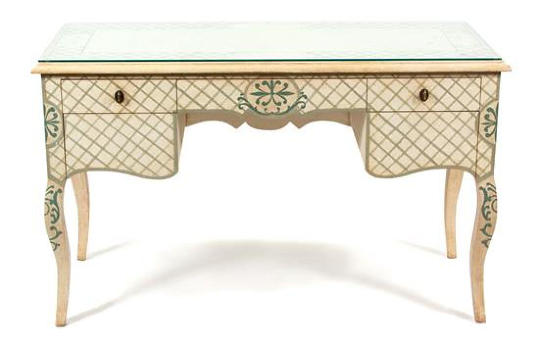 A Louis XV Style Painted Writing Desk Height 31 x width