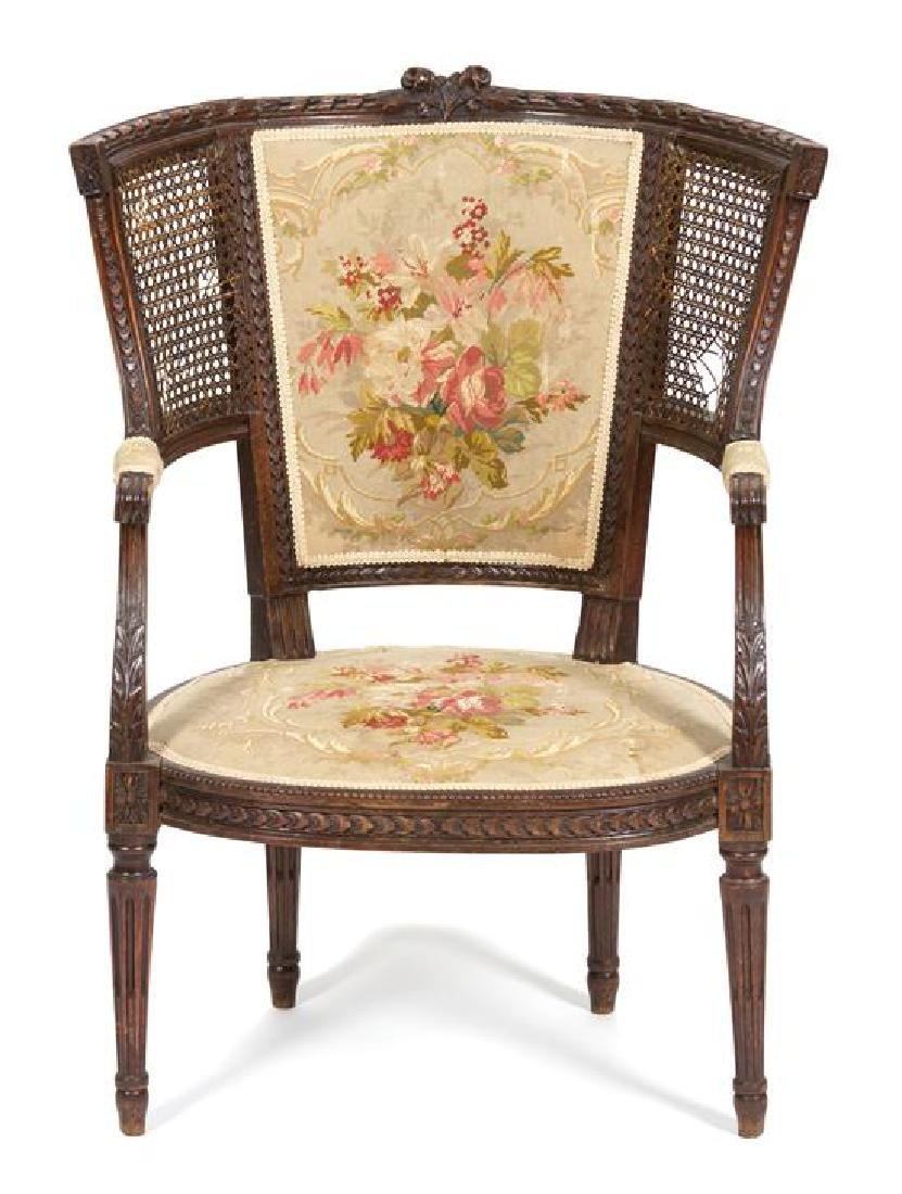 A Louis XVI Style Curved Back Fauteuil Height 35 1/2